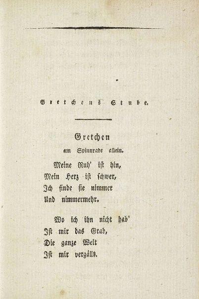 Gefühl Ist Alles Gretchen Am Spinnrade Allein In Goethes