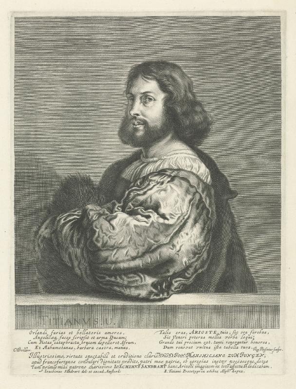 Ludovico Ariosto, Joachim von Sandrart, nach Tizian, Kupferstich, 1623–1668, Rijksmuseum Amsterdam